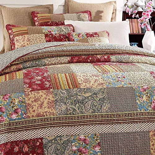 3 Piece Rustic Multi Red Quilt Set Delicate Paisley Floral Striped Plaid Mixed Pattern Patchwork Quilt California King Size Lightweight Reversible Small Ditsy Flowers Print Reverse Farmhouse Bedding 0 0