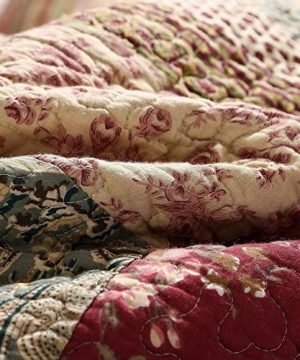 3 Piece Rustic Multi Red Quilt Set Delicate Paisley Floral Striped Plaid Mixed Pattern Patchwork Quilt California King Size Lightweight Reversible Small Ditsy Flowers Print Reverse Farmhouse Bedding 0 1 300x360