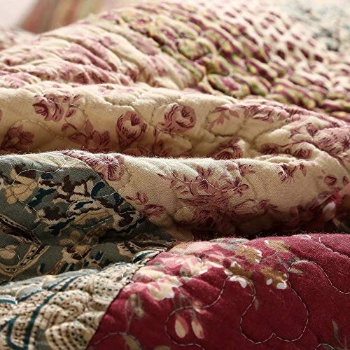 3 Piece Rustic Multi Red Quilt Set Delicate Paisley Floral Striped Plaid Mixed Pattern Patchwork Quilt California King Size Lightweight Reversible Small Ditsy Flowers Print Reverse Farmhouse Bedding 0 1