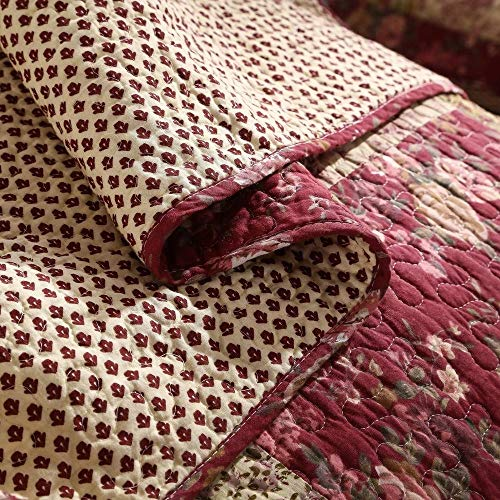 3 Piece Rustic Multi Red Quilt Set Delicate Paisley Floral Striped Plaid Mixed Pattern Patchwork Quilt California King Size Lightweight Reversible Small Ditsy Flowers Print Reverse Farmhouse Bedding 0 2