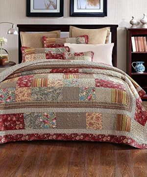 3 Piece Rustic Multi Red Quilt Set Delicate Paisley Floral Striped Plaid Mixed Pattern Patchwork Quilt California King Size Lightweight Reversible Small Ditsy Flowers Print Reverse Farmhouse Bedding 0 300x360