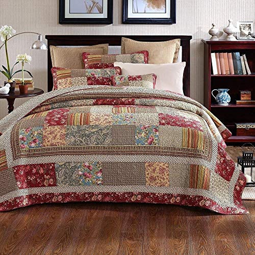 3 Piece Rustic Multi Red Quilt Set Delicate Paisley Floral Striped Plaid Mixed Pattern Patchwork Quilt California King Size Lightweight Reversible Small Ditsy Flowers Print Reverse Farmhouse Bedding 0
