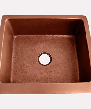 30 Geneva Smooth Copper Single Bowl Farmhouse Sink With Hammered Interior And Disposal Flange 0 0 300x360