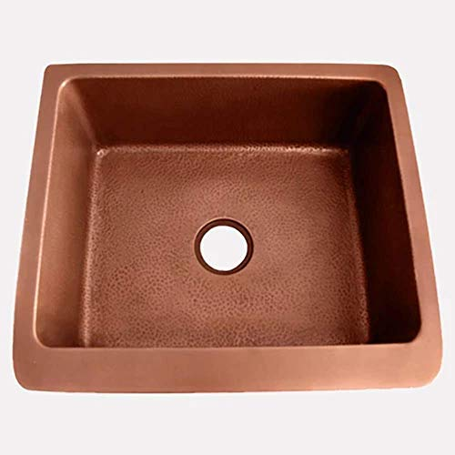 30 Geneva Smooth Copper Single Bowl Farmhouse Sink With Hammered Interior And Disposal Flange 0 0