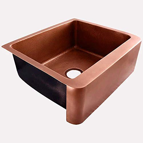 30 Geneva Smooth Copper Single Bowl Farmhouse Sink With Hammered Interior And Disposal Flange 0 1