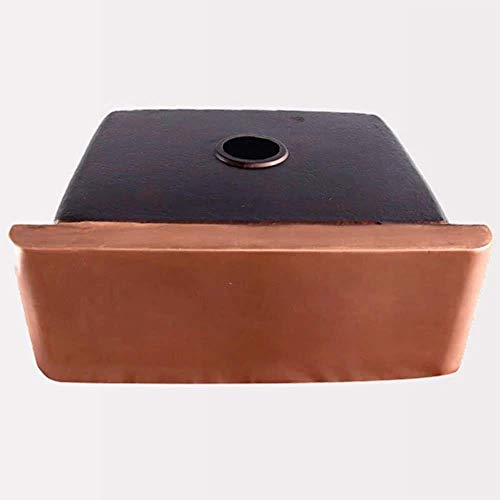 30 Geneva Smooth Copper Single Bowl Farmhouse Sink With Hammered Interior And Disposal Flange 0 2