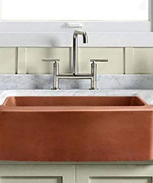 30 Geneva Smooth Copper Single Bowl Farmhouse Sink With Hammered Interior And Disposal Flange 0 300x360