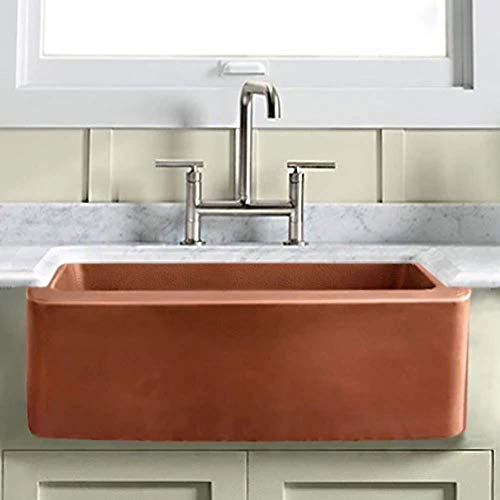 30 Geneva Smooth Copper Single Bowl Farmhouse Sink With Hammered Interior And Disposal Flange 0