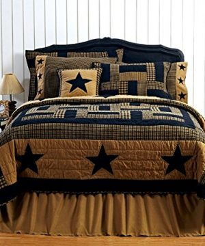 3pc FARMHOUSE BEDDING Delaware Black Star FULLQUEEN 3 Piece Quilt Set 2 Matching Pillow Shams 0 300x360