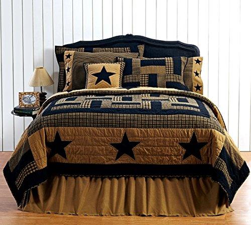 3pc FARMHOUSE BEDDING Delaware Black Star FULLQUEEN 3 Piece Quilt Set 2 Matching Pillow Shams 0