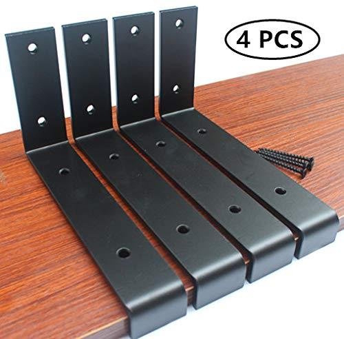 4 Pack 725L X 4H X 15W 5mm Thick Black Lip Shelf Bracket Heavy Duty Rustic Industrial Farmhouse Iron Metal Wall Floating Shelf Bracket Industrial Shelf Bracket Shelf Supports With Screws 0
