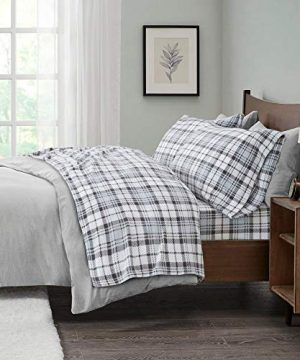 4 Piece Cabin Lodge 160 GSM Micro Fleece Sheets Set Classic Tartan Checkered Plaid Luxury White Grey Sheets Queen Size Lush Comfort Cozy Textured Plush Deep Pocket Fully Elasticized Farmhouse Bedding 0 300x360