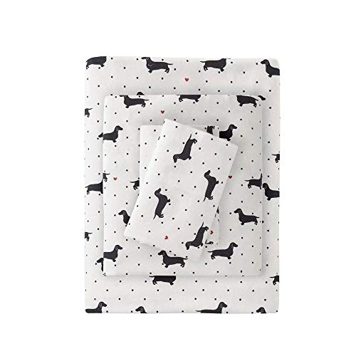 4 Piece Casual 160 GSM Cotton Flannel Sheets Set Whimsical All Over Dots Black Dachshund Design Deep Pocket Luxury Sheets King Expertly Crafted Cozy All Season Fully Elasticized Decor White Bedding 0 2