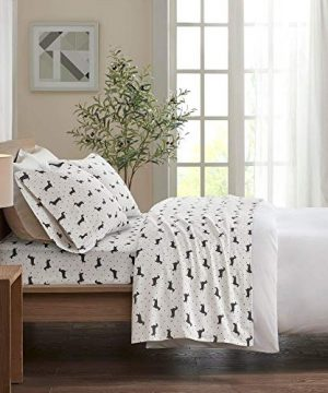 4 Piece Casual 160 GSM Cotton Flannel Sheets Set Whimsical All Over Dots Black Dachshund Design Deep Pocket Luxury Sheets King Expertly Crafted Cozy All Season Fully Elasticized Decor White Bedding 0 300x360