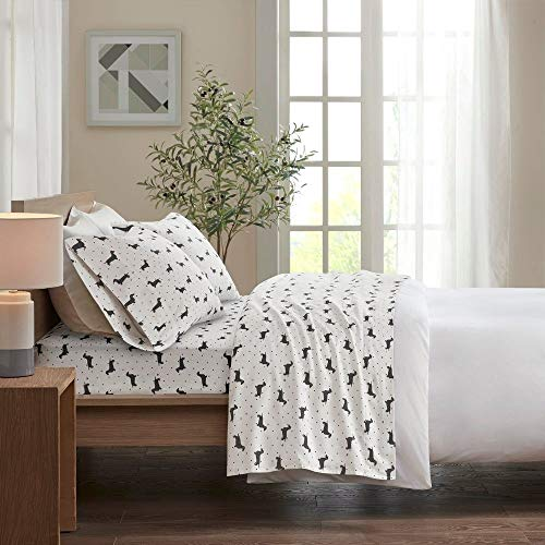 4 Piece Casual 160 GSM Cotton Flannel Sheets Set Whimsical All Over Dots Black Dachshund Design Deep Pocket Luxury Sheets King Expertly Crafted Cozy All Season Fully Elasticized Decor White Bedding 0