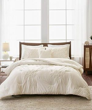 4 Piece Cottage Off White Comforter Set King Cal King Aesthetic All Over Diamond Shape Tufted Pattern Pintuck Comforter Set Textural Finishing Touch Hypoallergenic Decorative Shabby Chic Bedding Set 0 300x360