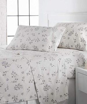 4 Piece Country Style 100 GSM Microfiber Sheets Set Peaceful All Over Grey Floral Motifs Farmhouse Print King Sheet Set Luxurious Extra Deep Pocket Ultra Soft Lunar White Decor Shabby Chic Bedding 0 300x360