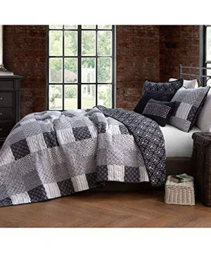 4 Piece Country Style Black White Quilt Set Charming Various Stripe Circle Geometric Patterned Patchwork Quilt Twin Design All Over Diamond Stitched Decorative Cabin Lodge Reversible Farmhouse Bedding 0 300x360