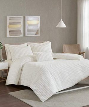 4 Piece Ivory Off White Full Queen Comforter Set Cotton Chenille Jacquard Farmhouse Shabby Chic Solid Color Geometric Checkered Textured Plain Squares Pattern Boxes Royal High Class Soft Rich Cotton 0 300x360