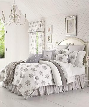 4 Piece Queen All Seasons Farmhouse Vintage Floral Comforter Set Pretty Cotton Fabric Tiny Ruffled Edging Bedskirt Include Shabby Chic Bedding Set Elegant Oversized Colorful White Grey Comforter Set 0 300x360
