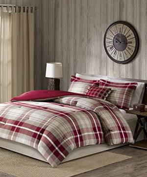 5 Pc Rustic Style Oversized Red Tan Brown Comforter Set Full All Season Plaid Pattern Shabby Chic Bedding Sets Charming Farmhouse Look Comfortable Warm Cozy Pintuck Design Soft Luxury Bedding Set 0 0 300x360