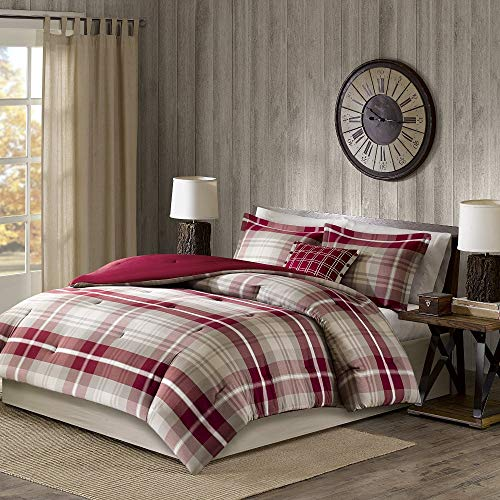 5 Pc Rustic Style Oversized Red Tan Brown Comforter Set Full All Season Plaid Pattern Shabby Chic Bedding Sets Charming Farmhouse Look Comfortable Warm Cozy Pintuck Design Soft Luxury Bedding Set 0 0