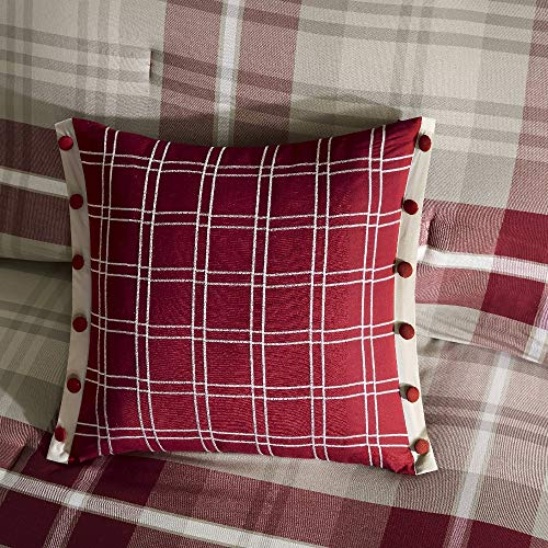 5 Pc Rustic Style Oversized Red Tan Brown Comforter Set Full All Season Plaid Pattern Shabby Chic Bedding Sets Charming Farmhouse Look Comfortable Warm Cozy Pintuck Design Soft Luxury Bedding Set 0 1