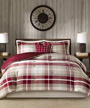 5 Pc Rustic Style Oversized Red Tan Brown Comforter Set Full All Season Plaid Pattern Shabby Chic Bedding Sets Charming Farmhouse Look Comfortable Warm Cozy Pintuck Design Soft Luxury Bedding Set 0 300x360