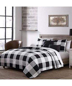 5 Piece Cottage Black White Quilt Queen Size Graceful Buffalo Check Print All Over Brick Style Quilted Plaid Quilt Set Cabin Lodge Look Solid Color Reverse Decorative All Season Farmhouse Bedding Set 0 300x360