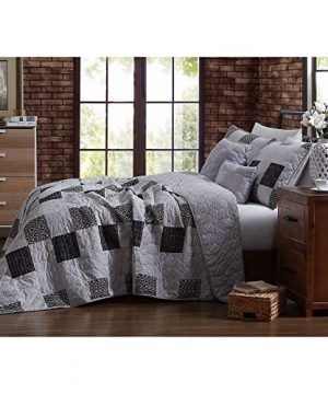 5 Piece Country Style Black Grey Quilt Set Charming Various Stripe Circle Geometric Patterned Patchwork Quilt Queen Design All Over Diamond Stitched Decorative Cabin Lodge Reversible Farmhouse Bedding 0 300x360