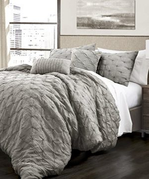5 Piece King French Country Glam Classic Pin Tuck Pattern Comforter Set Traditional Unique Farmhouse Solid Color Design Gorgeous Textured Themed Eye Catching Bedding Adorable Grey Color 0 300x360
