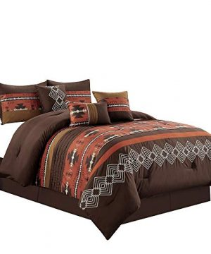 7 Piece Western Southwestern Native American Design Comforter Set Multicolor Spice BrickCoffee Brown Embroidered King Size Bed In A Bag Navajo Bedding Set Makala Spice Brick King 0 300x360