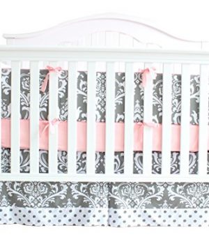7 Pieces Set Grey Floral Baby Crib Nursery Bedding Set With Bumper 0 0 300x360