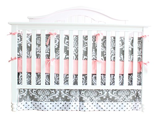 7 Pieces Set Grey Floral Baby Crib Nursery Bedding Set With Bumper 0 0