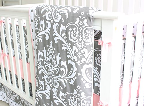 7 Pieces Set Grey Floral Baby Crib Nursery Bedding Set With Bumper 0 1