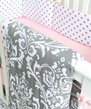 7 Pieces Set Grey Floral Baby Crib Nursery Bedding Set With Bumper 0 2 300x360