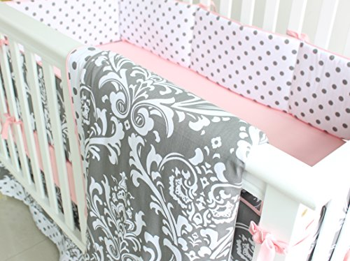 7 Pieces Set Grey Floral Baby Crib Nursery Bedding Set With Bumper 0 2