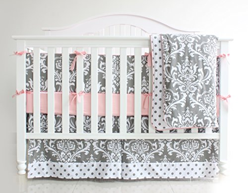 7 Pieces Set Grey Floral Baby Crib Nursery Bedding Set With Bumper 0
