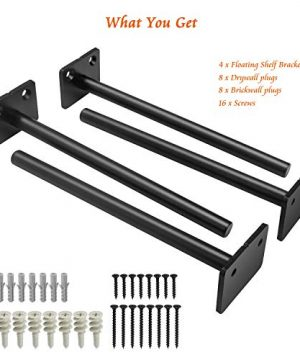 8 Inch Floating Shelf Brackets4 Pcs TechKen Black Invisible Solid Steel Blind Hidden Heavy Duty Shelves Support Round Kit For Drywall Brickwall Greenhouse Kitchen Farmhouse 0 4 300x360
