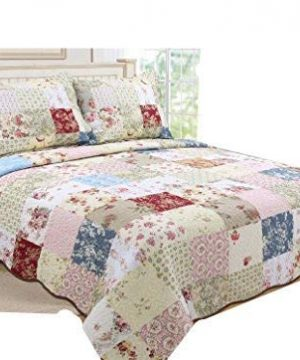ALL FOR YOU 3 Piece 100 Cotton Reversible BedspreadCoverletQuilt Set Oversizeto The Floor Real Patchwork King Cal King 0 300x360