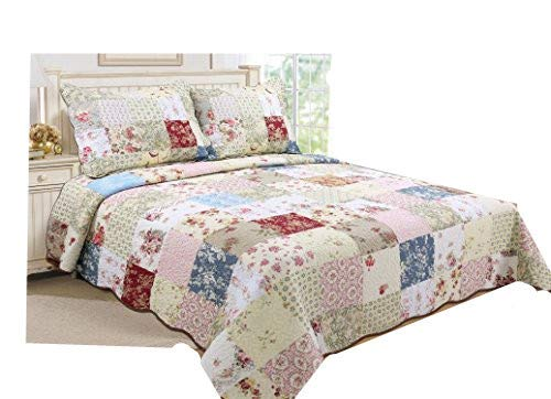 ALL FOR YOU 3 Piece 100 Cotton Reversible BedspreadCoverletQuilt Set Oversizeto The Floor Real Patchwork King Cal King 0