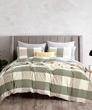 ATsense Duvet Cover King 100 Washed Cotton Bedding Duvet Cover Set 3 Piece Ultra Soft And Easy Care Simple Style Farmhouse Bedding Set Green Grid Y7004 1 0 300x360