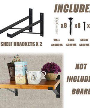 AddGrace Shelf Brackets Heavy Duty Wall Mounted Metal Industrial Floating Shelf Brackets With Lip Black 12 0 0 300x360