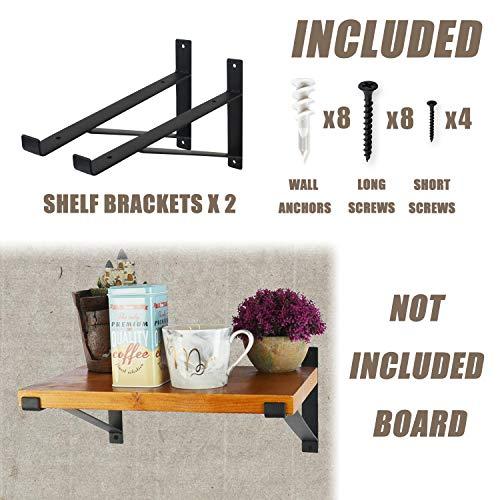 AddGrace Shelf Brackets Heavy Duty Wall Mounted Metal Industrial Floating Shelf Brackets With Lip Black 12 0 0