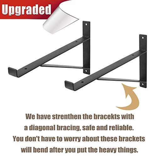 AddGrace Shelf Brackets Heavy Duty Wall Mounted Metal Industrial Floating Shelf Brackets With Lip Black 12 0 1