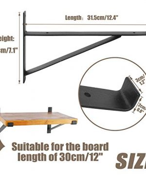 AddGrace Shelf Brackets Heavy Duty Wall Mounted Metal Industrial Floating Shelf Brackets With Lip Black 12 0 2 300x360