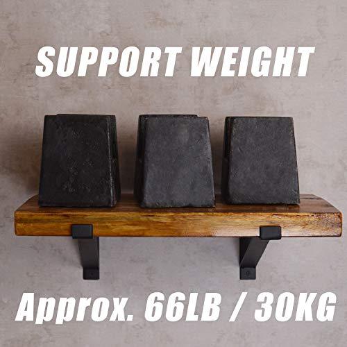 AddGrace Shelf Brackets Heavy Duty Wall Mounted Metal Industrial Floating Shelf Brackets With Lip Black 12 0 3