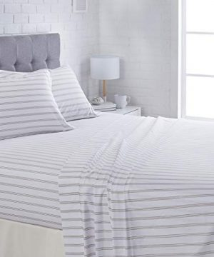 AmazonBasics Lightweight Super Soft Easy Care Microfiber Sheet Set With 16 Deep Pockets Queen Grey Stripe 0 300x360