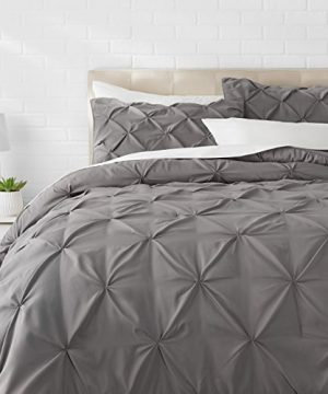 AmazonBasics Pinch Pleat Comforter BeddingSet Full Queen Dark Grey 0 300x360