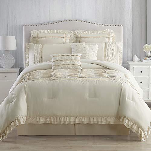 Amrapur Overseas Antonella 8 Piece Pleated King Sand Comforter Set Beige 0 0